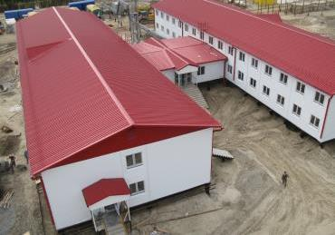 Блочно-модульное здание общежития со столовой