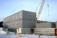 Установка блок-модулей быстровозводимого здания