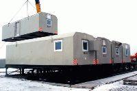 Установка вагон-домов на рамную конструкцию