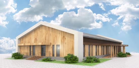 Оригинальный фасад типового проекта модульного дома культуры