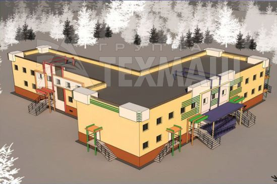 Комбинированное модульное здание школы и детского сайта