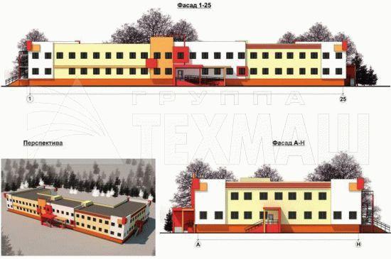 Фасады типового здания школы на 200 мест