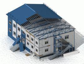 Завершение монтажа здания из самонесущих панелей