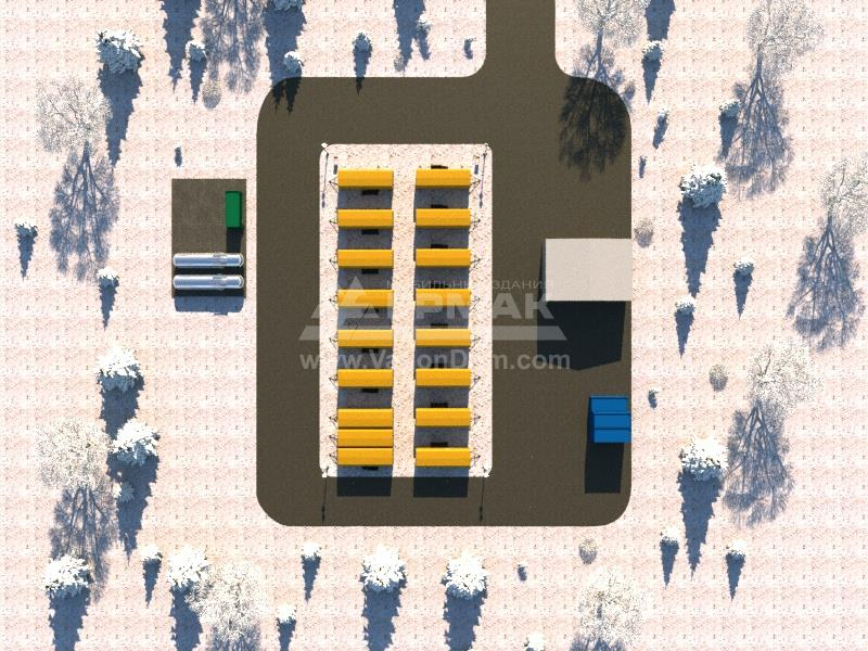 План вахтового поселка на базе вагон-домов Ермак