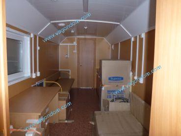 Интерьер вагон-дома медпункта Ермак, подготовленного к транспортировке