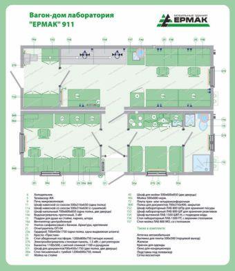 Планировка мобильного здания лаборатории из двух вагон-домов